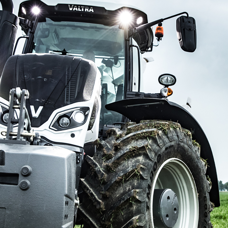 valtra s4 series tractor on the field closeup